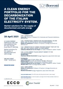Agenda for SDA Bocconi clean energy event